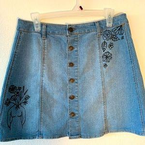 Hand-painted denim mini skirt
